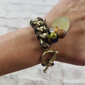 Jewelry - Gold Brown Suede Braided Bracelet Love Charm Boho